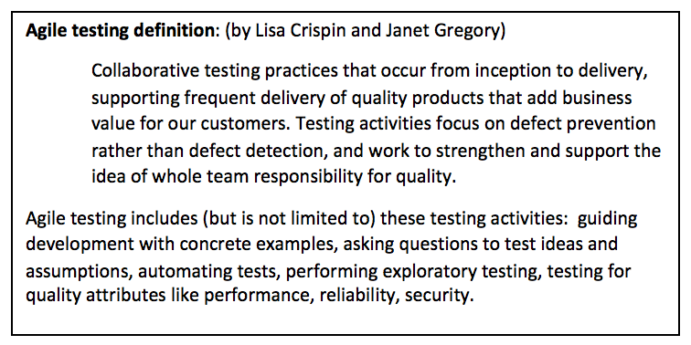 "Our Definition of ""Agile Testing"" - Agile Testing"