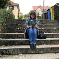 Reading on stairs