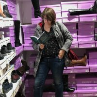 Reading in a shoe store